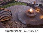 beautiful firepit at dusk | Shutterstock . vector #68710747