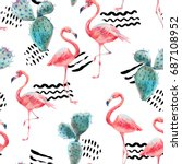 watercolor pink flamingo and... | Shutterstock . vector #687108952