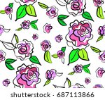 floral seamless background... | Shutterstock .eps vector #687113866