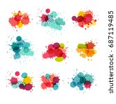watercolor splashes. colorful... | Shutterstock .eps vector #687119485