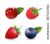 berry set. forest realistic... | Shutterstock .eps vector #687121462
