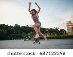 young sporty woman riding on