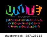 vector of modern colorful font... | Shutterstock .eps vector #687129118