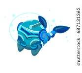 cartoon character blue robot.... | Shutterstock . vector #687131362