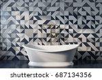 vintage bathroom interior with... | Shutterstock . vector #687134356