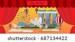 travel infographic. singapore... | Shutterstock .eps vector #687134422