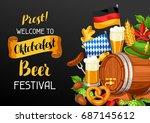 oktoberfest. welcome to beer... | Shutterstock .eps vector #687145612