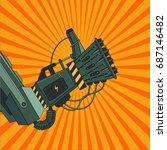 robot hand with ok sign. retro... | Shutterstock .eps vector #687146482