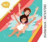 two girls ride the water slide. ...   Shutterstock .eps vector #687147382