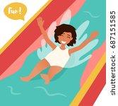 girl ride the water slide.... | Shutterstock .eps vector #687151585
