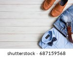 flat lay  men's fashion casual... | Shutterstock . vector #687159568