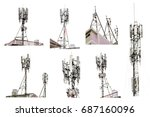 Set Of Communication Tower Wit...
