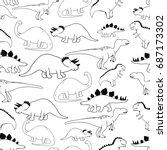 black and white dinosaur...   Shutterstock .eps vector #687173302
