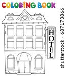 coloring book hotel theme 1  ... | Shutterstock .eps vector #687173866