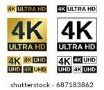 4k ultra hd icon. vector 4k uhd ... | Shutterstock .eps vector #687183862