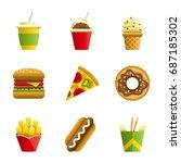 fast food cartoon icon set.... | Shutterstock . vector #687185302