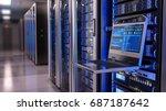 rackmount led console in server ... | Shutterstock . vector #687187642