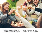 group of happy friends cheering ... | Shutterstock . vector #687191656