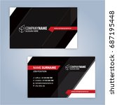 business card template. red and ... | Shutterstock .eps vector #687195448