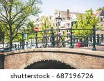 bridge view of amsterdam canals | Shutterstock . vector #687196726