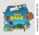 back to school new sale banner. ... | Shutterstock .eps vector #687201742