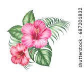 red hibiscus flowers and palm... | Shutterstock . vector #687201832