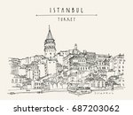 istanbul  turkey. galata tower  ... | Shutterstock .eps vector #687203062