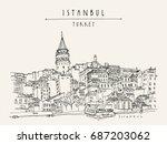 istanbul  turkey. galata tower  ... | Shutterstock .eps vector #687203062
