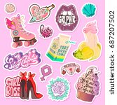pop art fashion patches pins ... | Shutterstock .eps vector #687207502