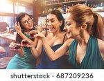 positive girls celebrating hen... | Shutterstock . vector #687209236