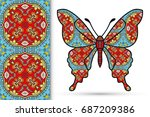 decorative butterfly and... | Shutterstock .eps vector #687209386