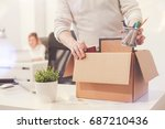 sad dismissed worker taking his ... | Shutterstock . vector #687210436