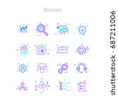 set of linear outline icons of...