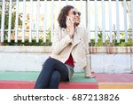 beautiful african american...   Shutterstock . vector #687213826
