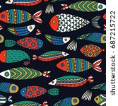 seamless pattern with fishes.... | Shutterstock .eps vector #687215722