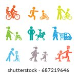 parents and their kids on the...   Shutterstock .eps vector #687219646