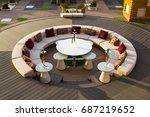 interior of the restaurant on...   Shutterstock . vector #687219652