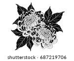 chrysanthemum vector on white... | Shutterstock .eps vector #687219706