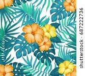 summer hawaiian seamless...   Shutterstock .eps vector #687222736