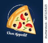 pizza slice seamless pattern | Shutterstock . vector #687225325