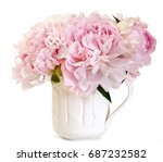 beautiful pink peony in a cup... | Shutterstock . vector #687232582