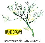 dry branch. tree branch without ... | Shutterstock .eps vector #687233242