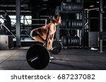 muscular young fitness woman... | Shutterstock . vector #687237082