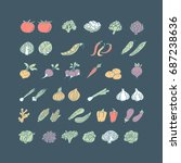vegetable hand drawn icon set... | Shutterstock .eps vector #687238636