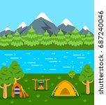 summer camping background. flat ... | Shutterstock . vector #687240046