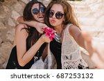 cute lovely girl in trendy...   Shutterstock . vector #687253132