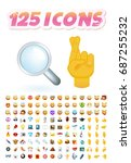 set of 125 realistic cute icons ... | Shutterstock .eps vector #687255232