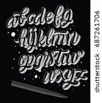 vector alphabet. scribble font. ... | Shutterstock .eps vector #687261706