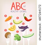 poster with vegetables on forks ... | Shutterstock .eps vector #687264172