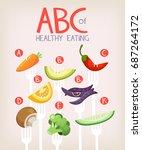 poster with vegetables on forks ... | Shutterstock .eps vector #687264172